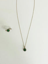 Load image into Gallery viewer, Emerald Diamond Ring and Necklace Set - Sufi Design