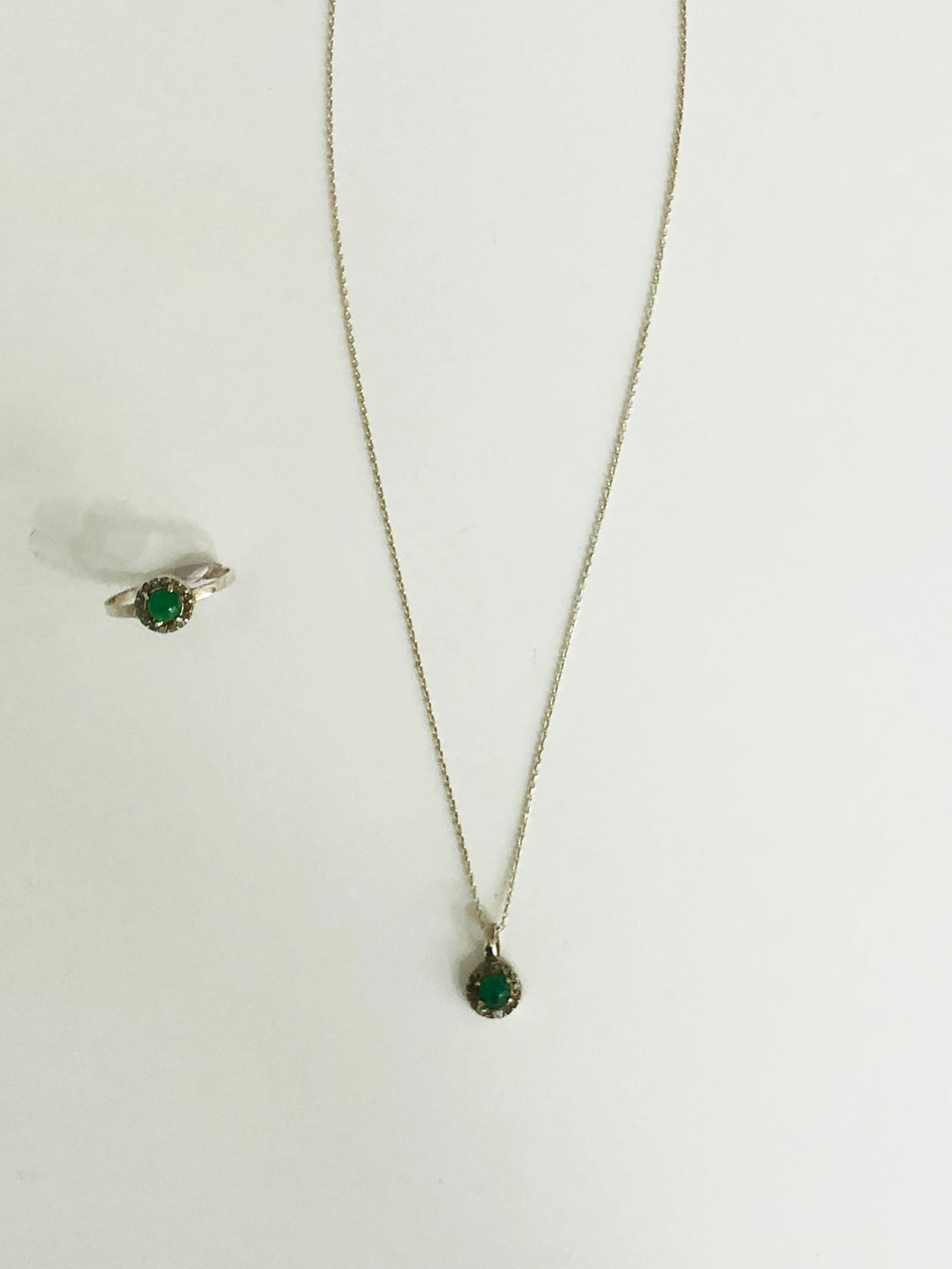 Emerald Diamond Ring and Necklace Set - Sufi Design