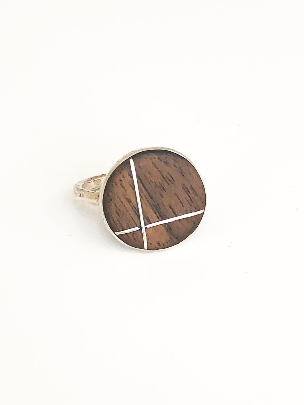 Natural Wood & Silver Ring - Sufi Design