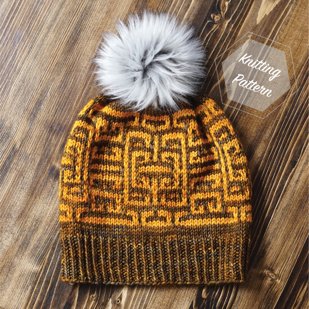 Aztec Maze Hat Knitting Pattern PDF