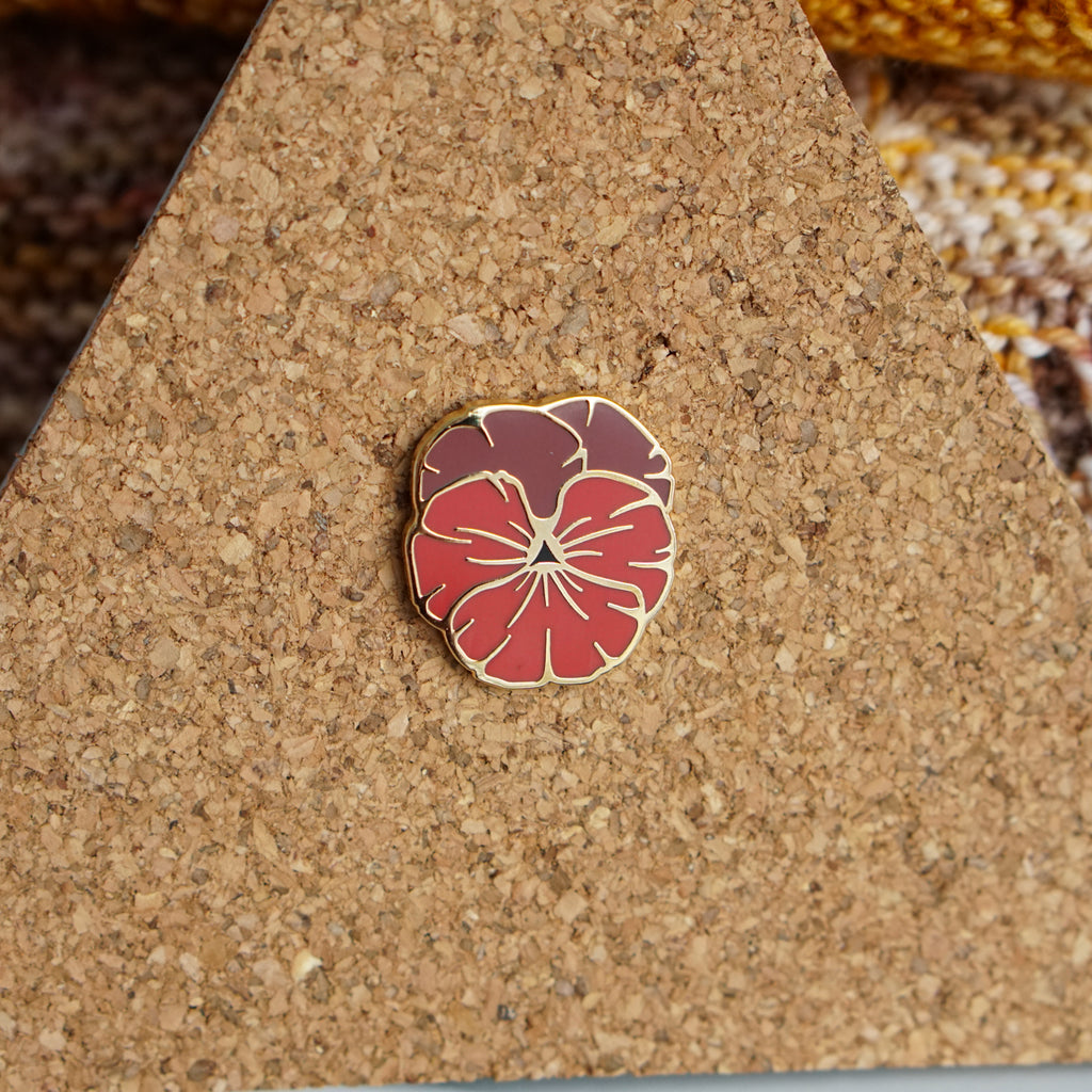 Red Pansy Pin