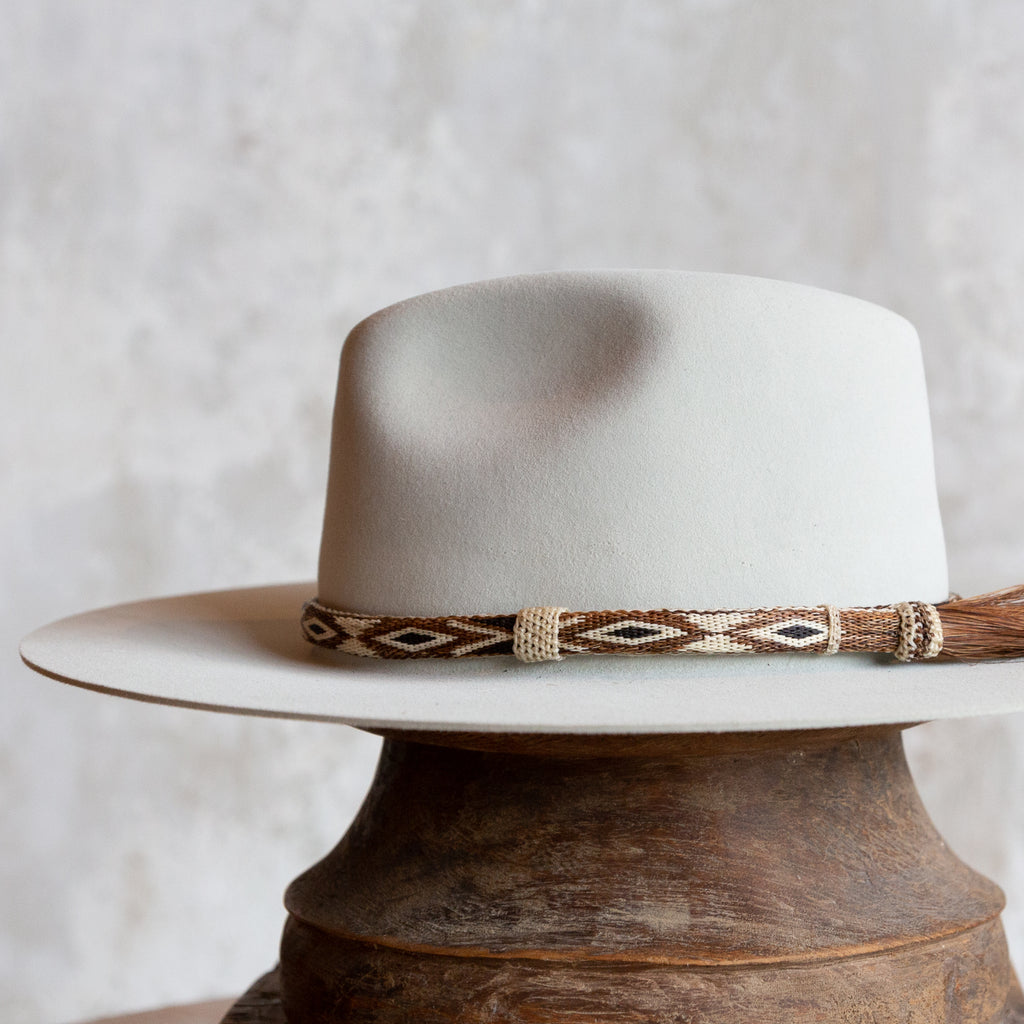 Hitched Horsehair Hat Band with Single Side Tassel - Cream & Brown