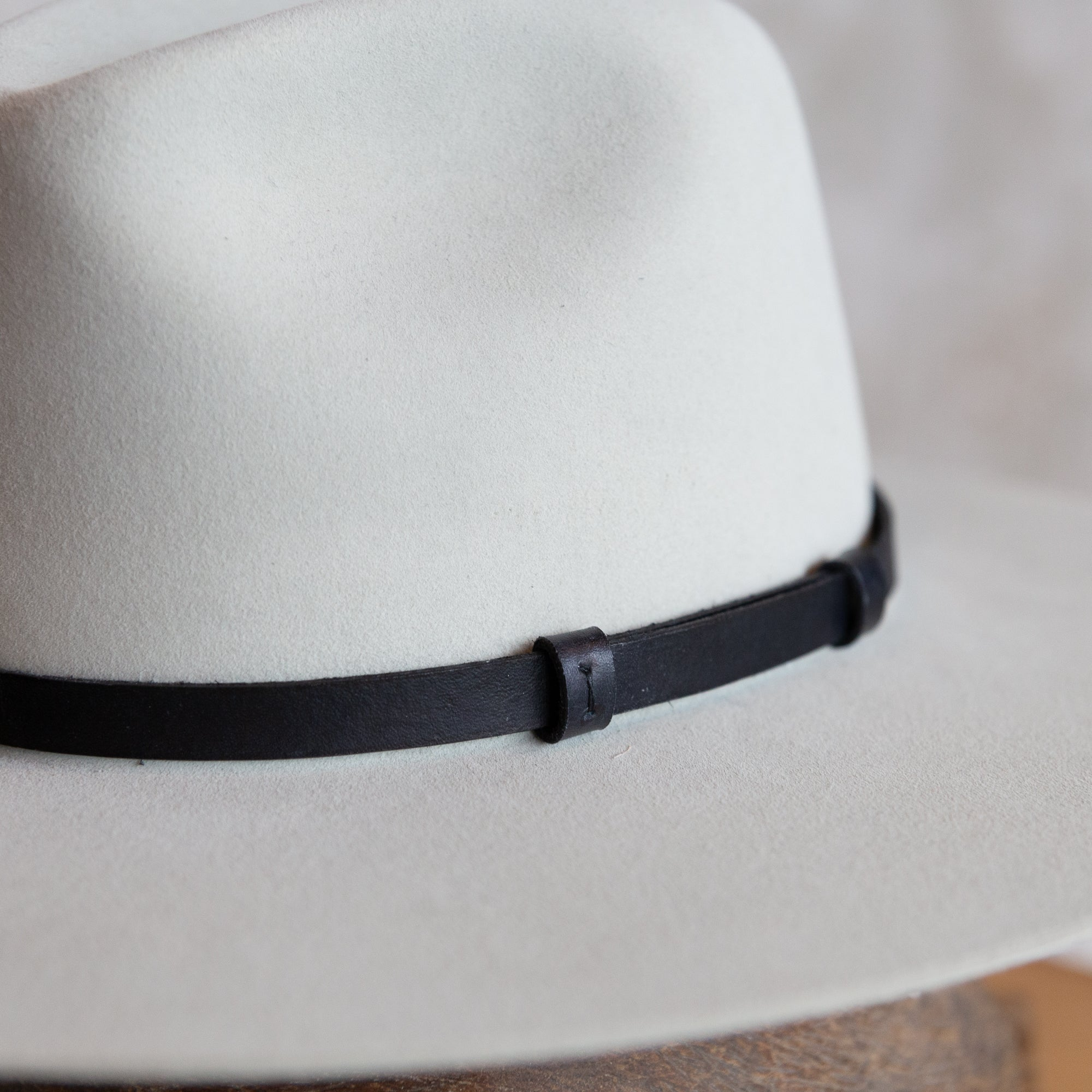 Black Leather Unlined Hat Band