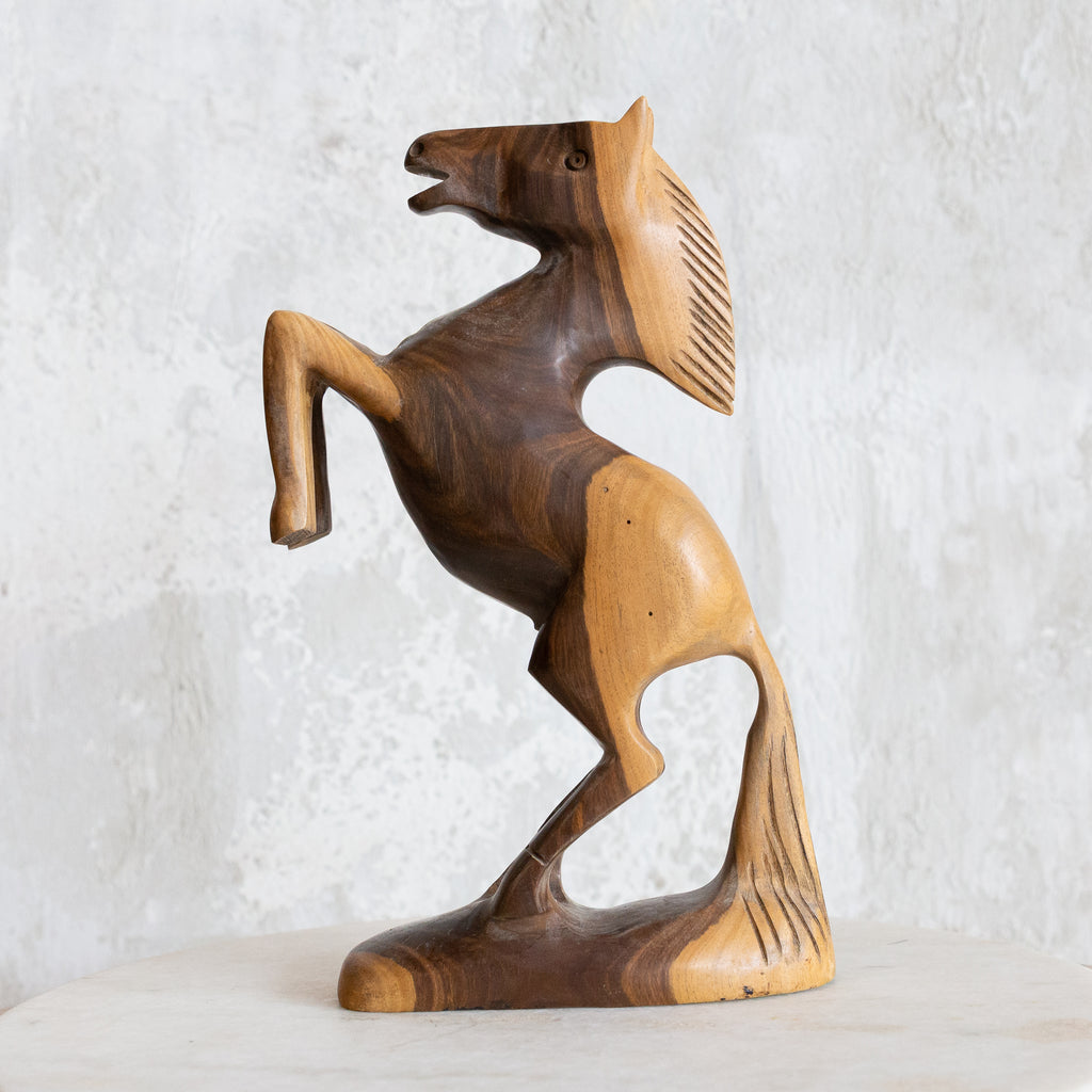Rearing Stallion Wooden Sculpture