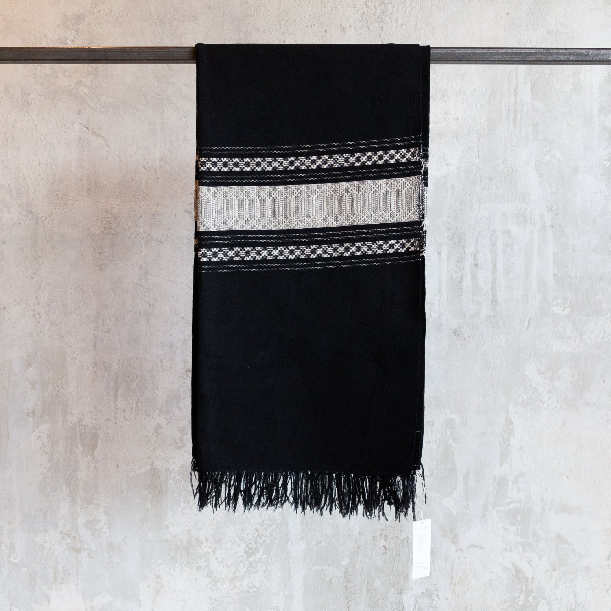 Small Oaxacan Throw - Black & Cream Stripe