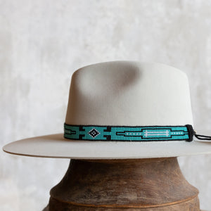 Beaded Hat Band with Horse Hair Tassels - Turquoise