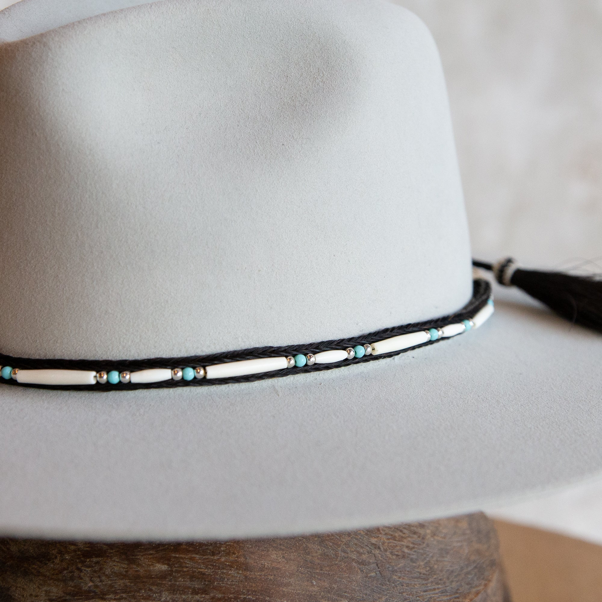 Bone Bead Double Tassel Hat Band