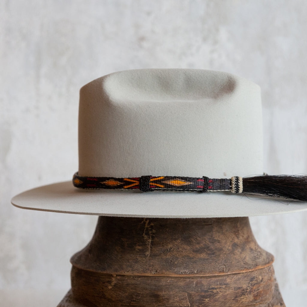 Hitched Horsehair Hat Band with Single Side Tassel - Black Orange & Red