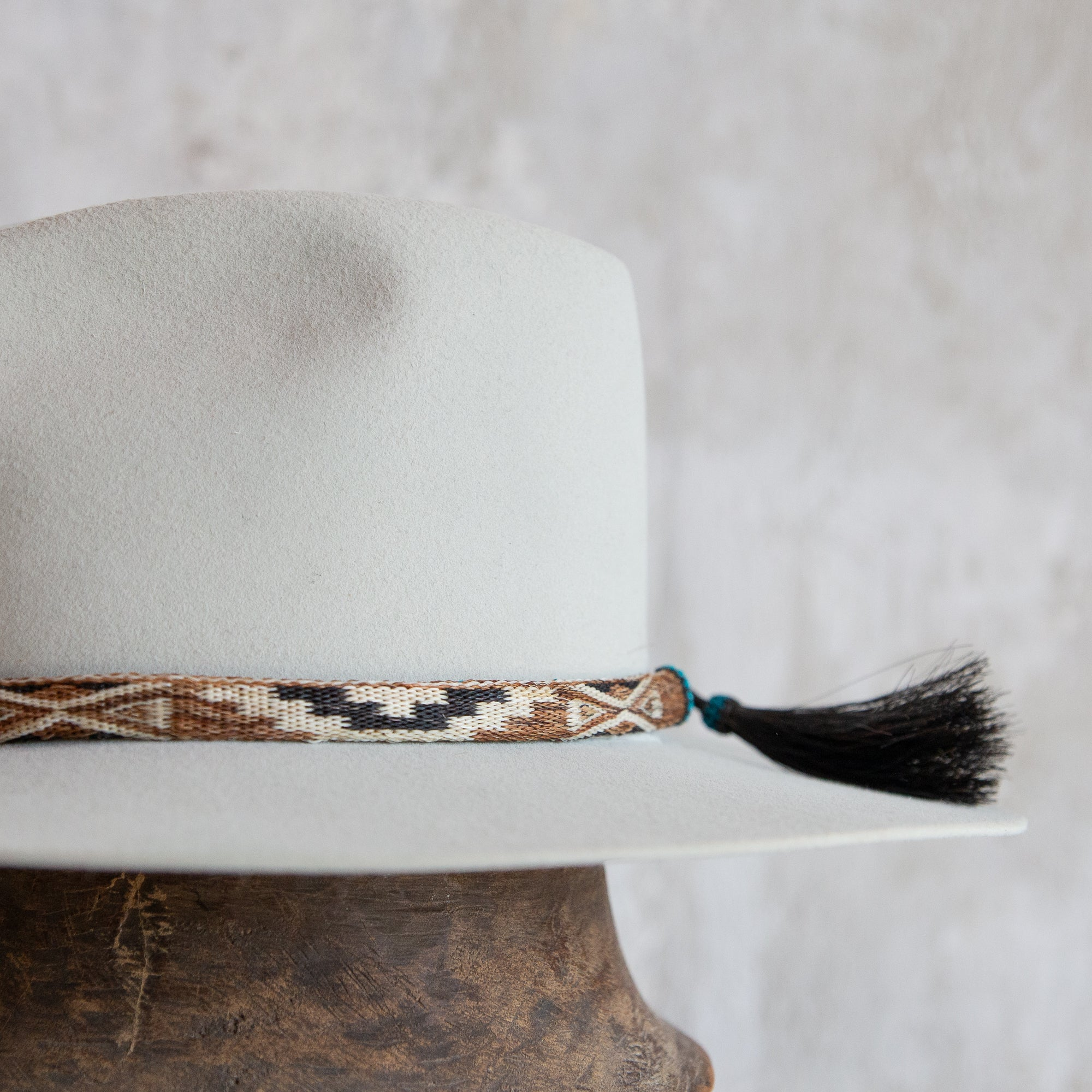 Reversible Horse Hitched Hat Band - Cream, Brown & Turquoise