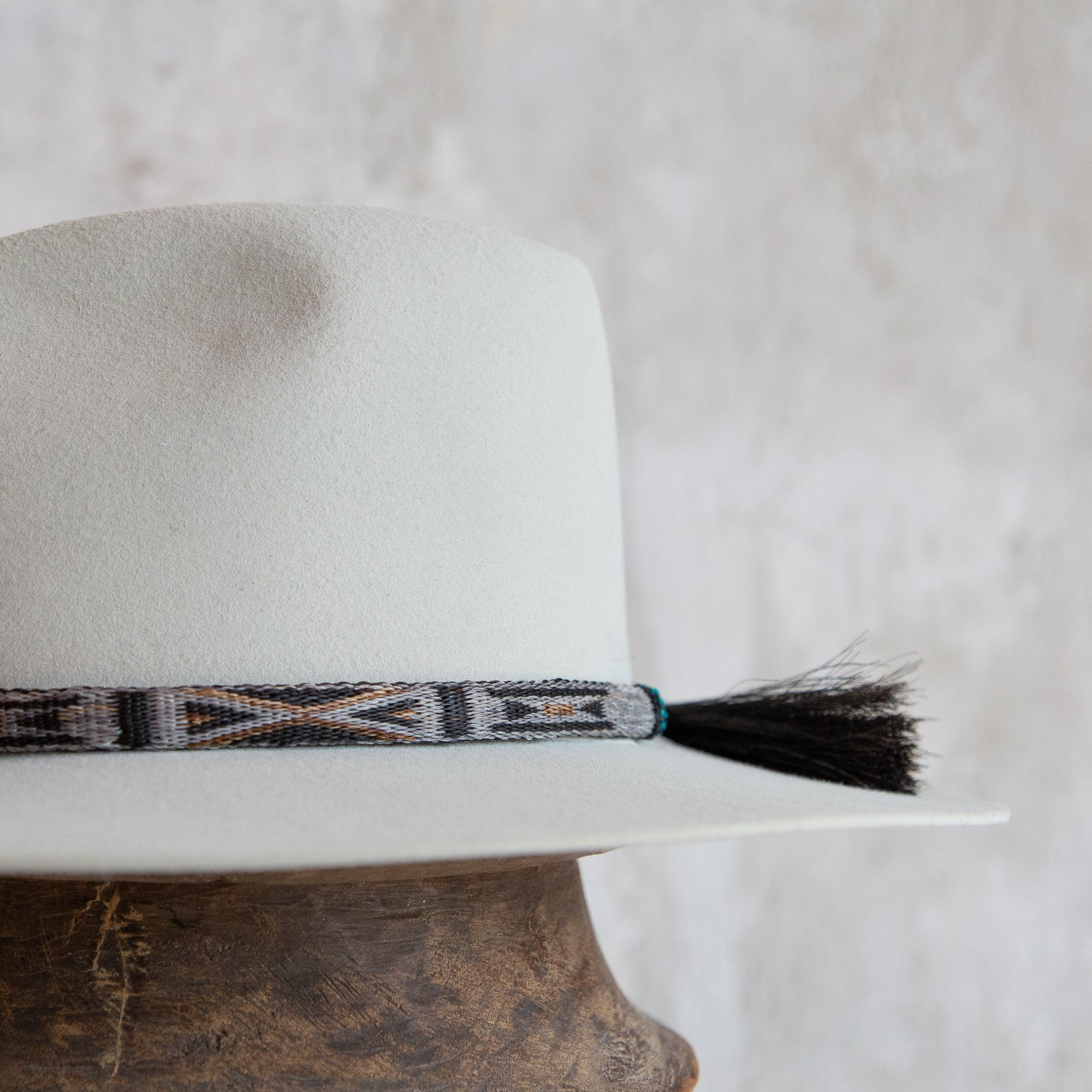 Reversible Horse Hitched Hat Band - Grey, Brown & Turquoise