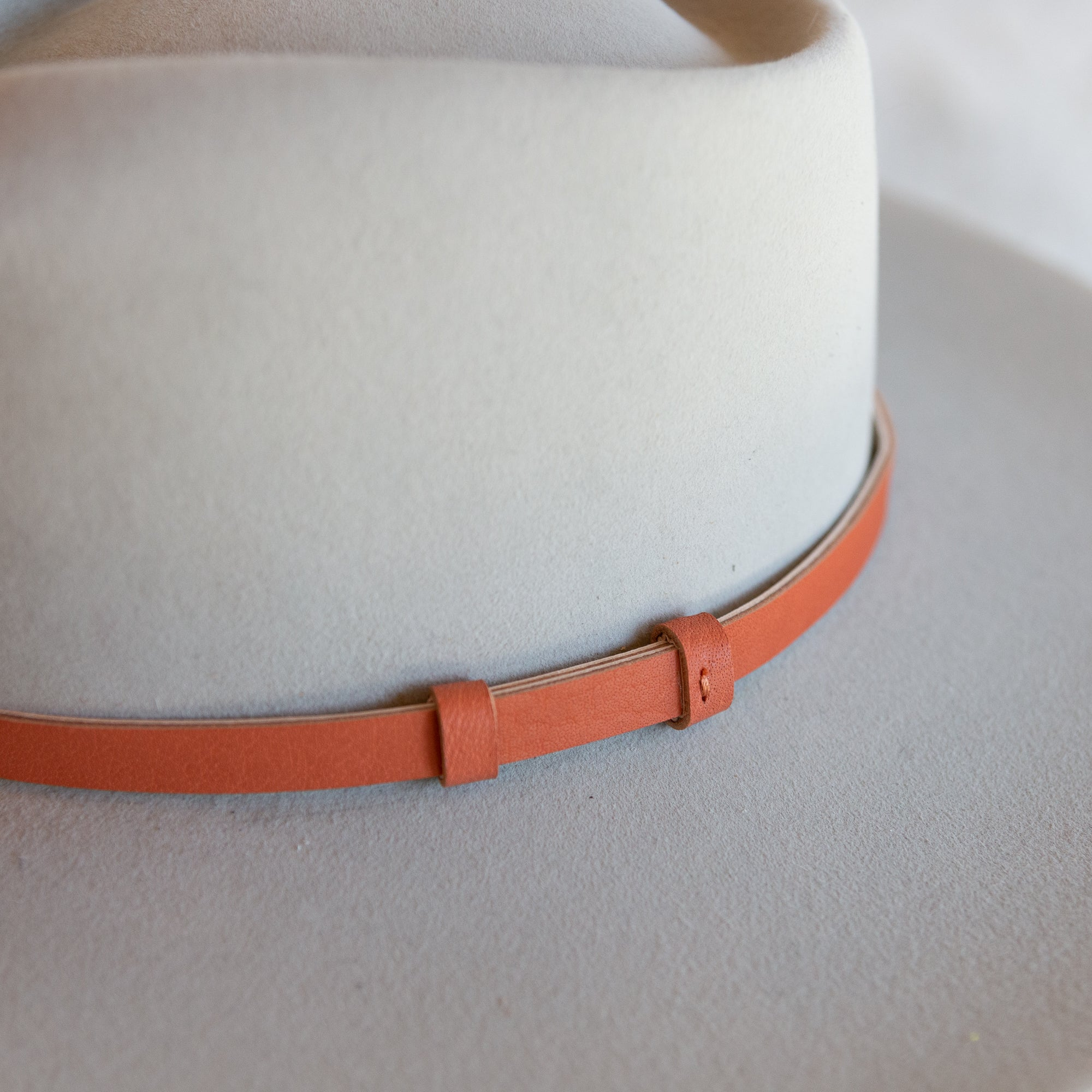 Burnt Orange Lined Leather Hat Band