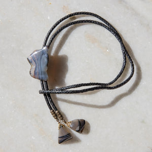 Grey Agate Bolo Tie - Braided Suede Cord