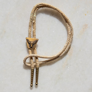 Brass Longhorn Bolo tie - Cotton Cord