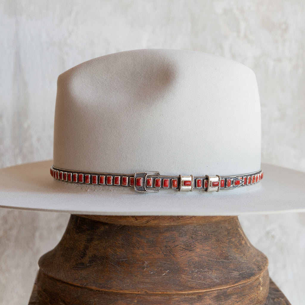 Sterling Silver Red Coral Hat Band