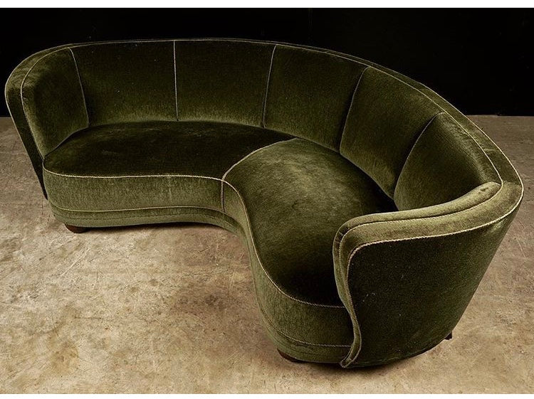 Dark Green Mohair Curved Sofa