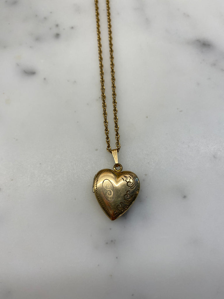 'S' Engraved Heart Locket Necklace