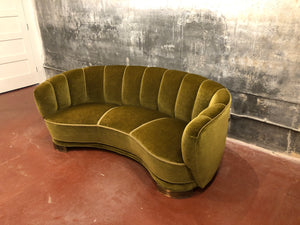 Green Mohair Kidney Sofa