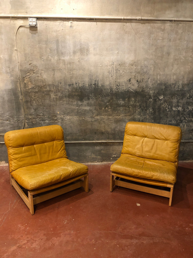 Pair of French Leather Lounge Chairs