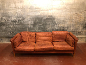 Danish Red Leather Sofa
