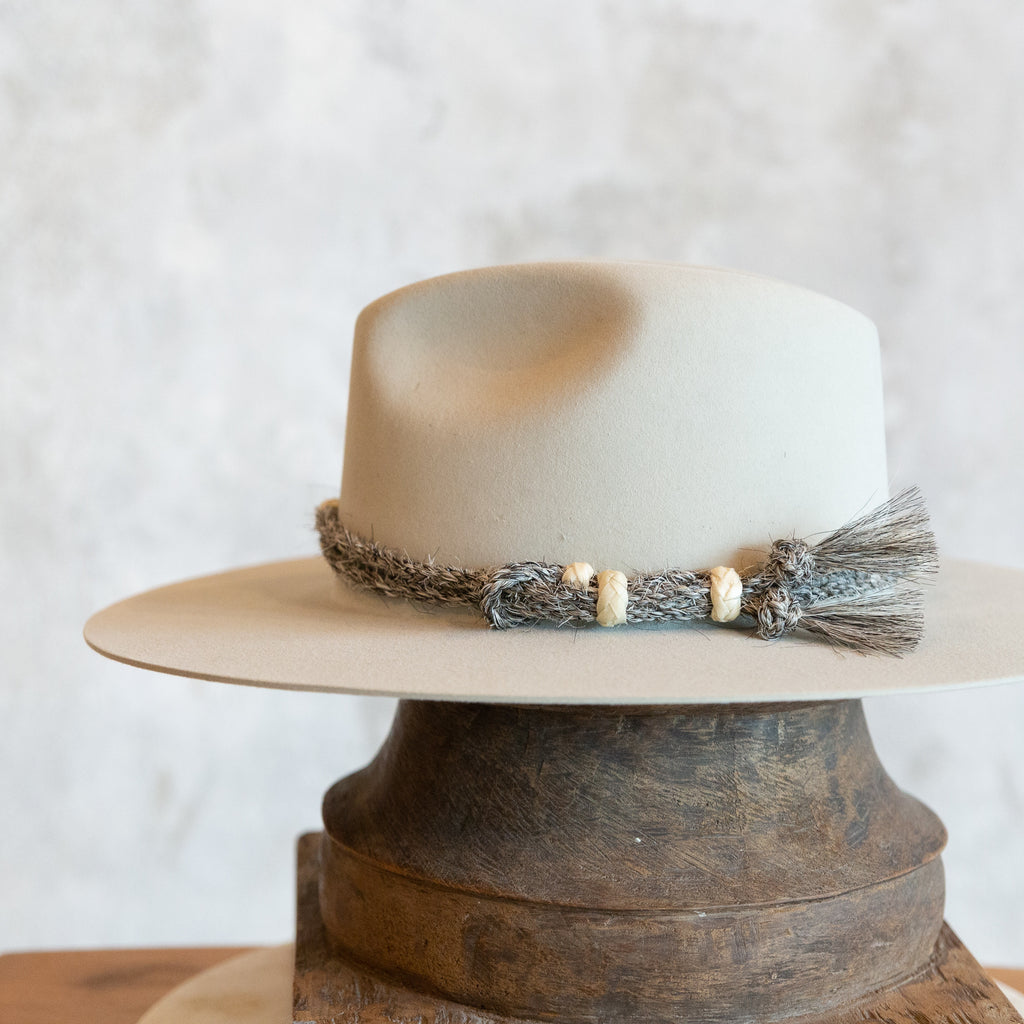 Twisted Rope Horse Hair Hat Band - Grey