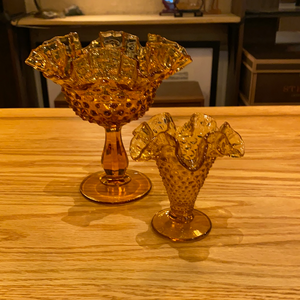 Hobnail Amber Compote and Candy Dish