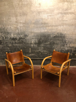 Pair of Finnish Mid Century Safari Leather Chairs