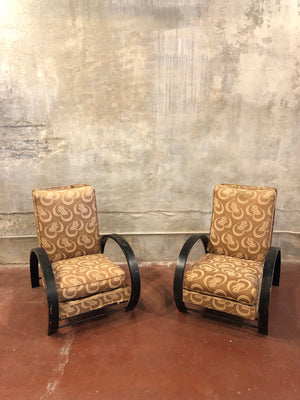 Pair of Patterned Bauhaus Chairs