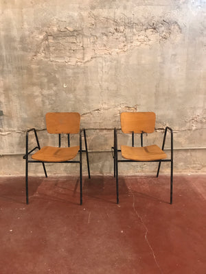 Pair of Schoolhouse Steel Arm Chairs