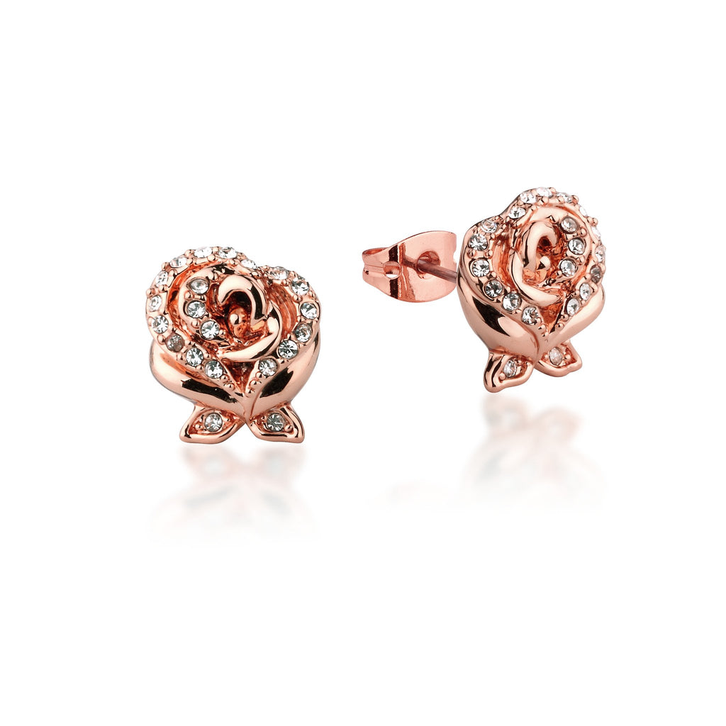 Disney Beauty and the Beast Enchanted Rose Crystal Stud Earrings - Couture Kingdom Benelux