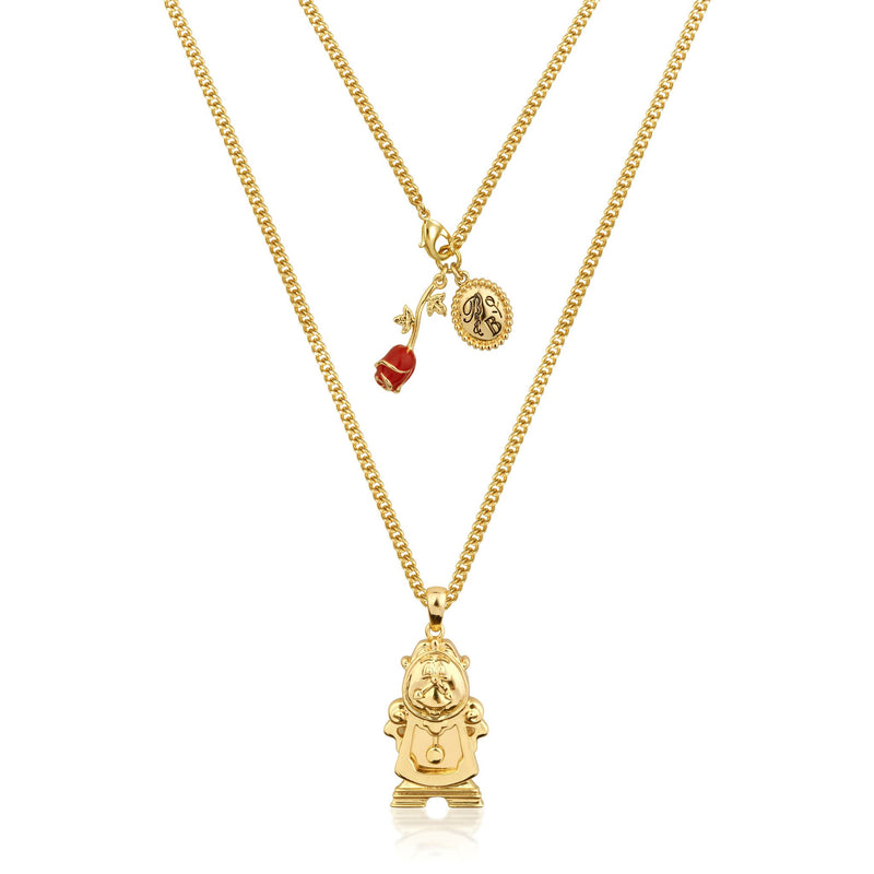 Disney Beauty and the Beast Cogsworth Necklace - Couture Kingdom Benelux Bijoux Juwelen Disney Store Charm Bracelet Ketting Collier Oorbellen Boucles d'oreilles Necklace mickey mouse minnie mouse mary poppins dumbo la bella et la bete fée Clochette Alice au pays des merveilles pandora disney swarovski disney bijou cristal