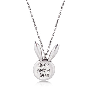 Disney Alice in Wonderland White Gold-Plated White Rabbit Necklace - Couture Kingdom Benelux Bijoux Juwelen Disney Store Charm Bracelet Ketting Collier Oorbellen Boucles d'oreilles Necklace mickey mouse minnie mouse mary poppins dumbo la bella et la bete fée Clochette Alice au pays des merveilles pandora disney swarovski disney bijou cristal