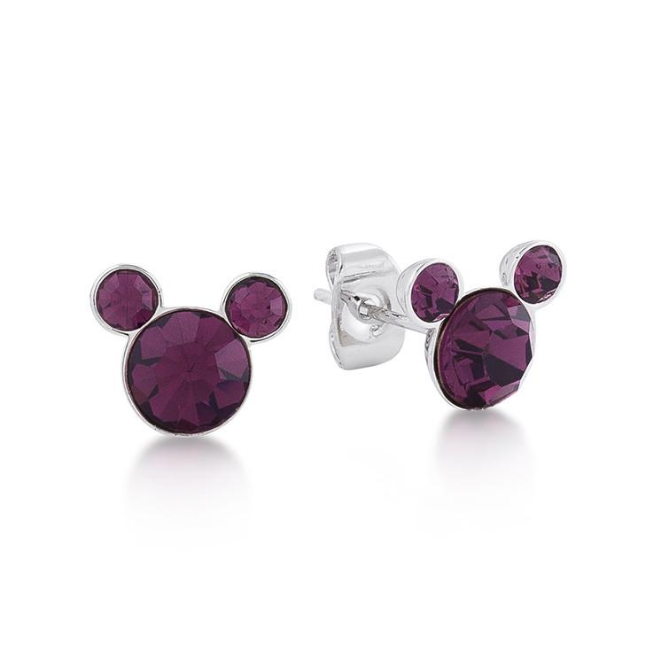 Disney Mickey February Birthstone Stud Earrings - Couture Kingdom Benelux Bijoux Juwelen Disney Store Charm Bracelet Ketting Collier Oorbellen Boucles d'oreilles Earrings mickey mouse minnie mouse mary poppins dumbo la bella et la bete fée Clochette Alice au pays des merveilles pandora disney swarovski disney bijou cristal