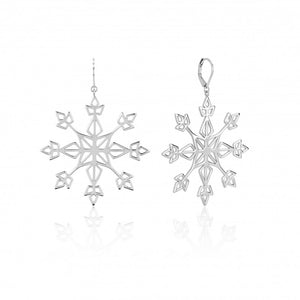 Disney Frozen II White Gold-Plated Large Statement Snowflake Earrings - Couture Kingdom Benelux Bijoux Juwelen Disney Store Charm Bracelet Ketting Collier Oorbellen Boucles d'oreilles Earrings mickey mouse minnie mouse mary poppins dumbo la bella et la bete fée Clochette Alice au pays des merveilles pandora disney swarovski disney bijou cristal