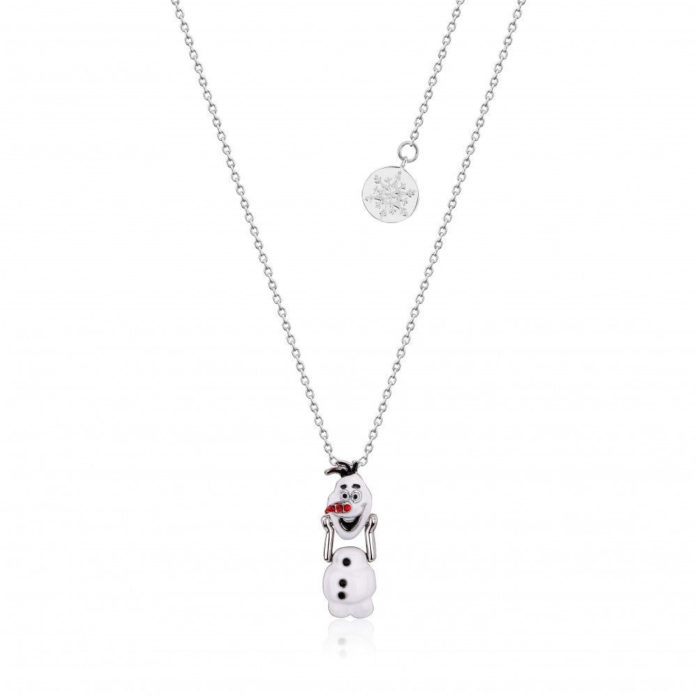 Disney Frozen II White Gold-Plated Olaf Snowman with Moveable Head Necklace