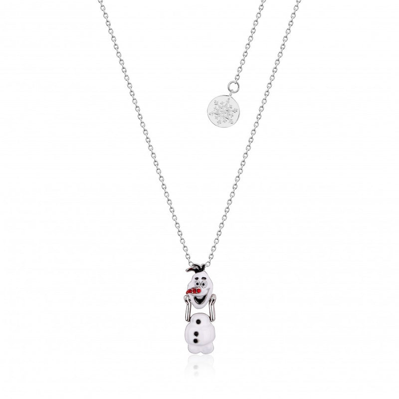 Disney Frozen II White Gold-Plated Olaf Snowman with Moveable Head Necklace - Couture Kingdom Benelux Bijoux Juwelen Disney Store Charm Bracelet Ketting Collier Oorbellen Boucles d'oreilles Necklace mickey mouse minnie mouse mary poppins dumbo la bella et la bete fée Clochette Alice au pays des merveilles pandora disney swarovski disney bijou cristal