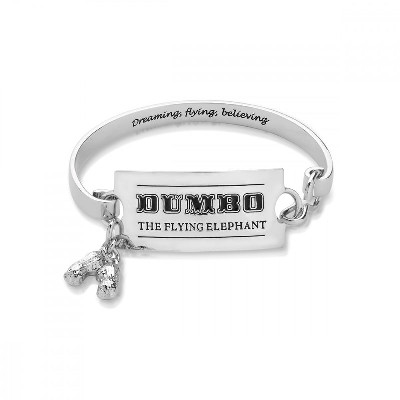 Disney Dumbo White Gold-Plated Flying Elephant Circus Ticket Bangle - Couture Kingdom Benelux Bijoux Juwelen Disney Store Charm Bracelet Ketting Collier Oorbellen Boucles d'oreilles Bangle mickey mouse minnie mouse mary poppins dumbo la bella et la bete fée Clochette Alice au pays des merveilles pandora disney swarovski disney bijou cristal