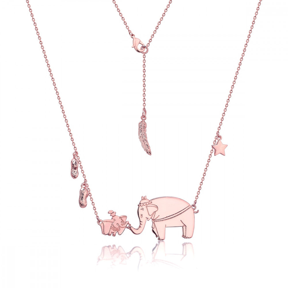 Disney Rose Gold-Plated Dumbo & Mrs Jumbo Necklace - Couture Kingdom Benelux Bijoux Juwelen Disney Store Charm Bracelet Ketting Collier Oorbellen Boucles d'oreilles Necklace mickey mouse minnie mouse mary poppins dumbo la bella et la bete fée Clochette Alice au pays des merveilles pandora disney swarovski disney bijou cristal