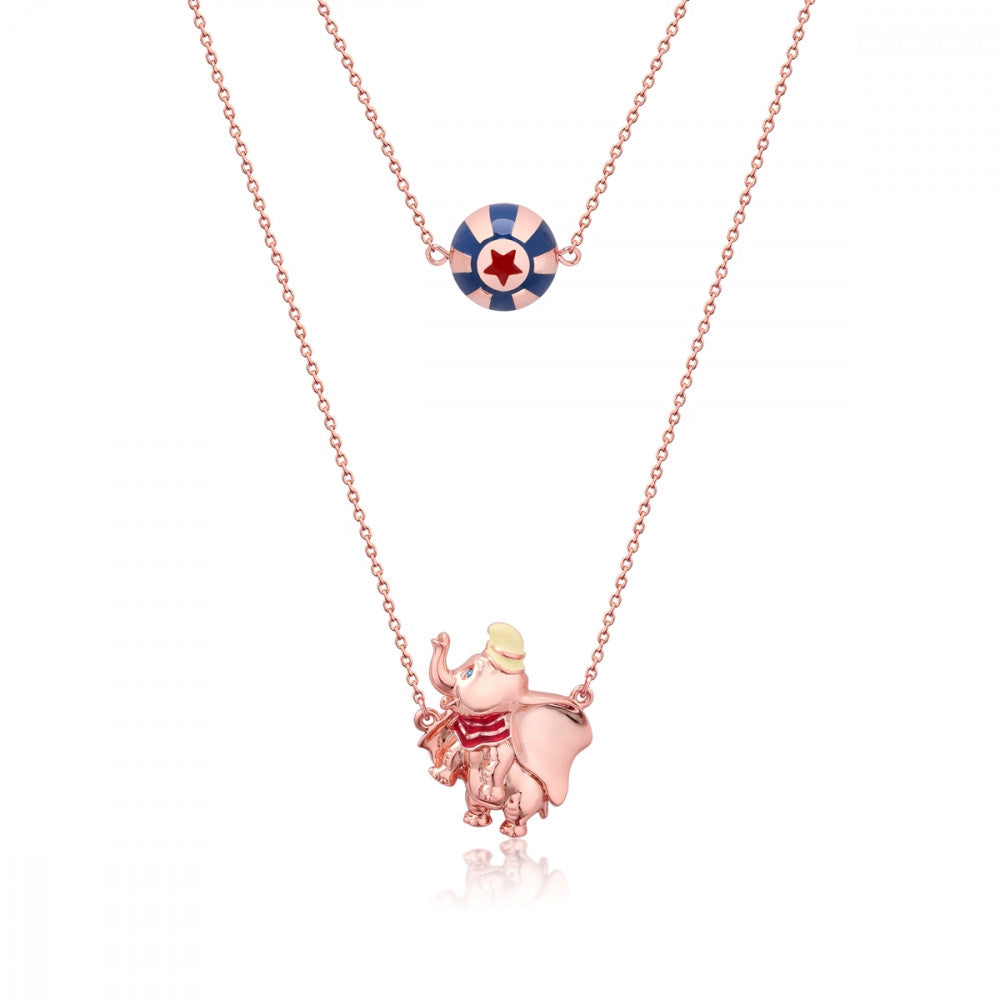 Disney Rose Gold-Plated Dumbo & Circus Ball Necklace - Couture Kingdom Benelux Bijoux Juwelen Disney Store Charm Bracelet Ketting Collier Oorbellen Boucles d'oreilles Necklace mickey mouse minnie mouse mary poppins dumbo la bella et la bete fée Clochette Alice au pays des merveilles pandora disney swarovski disney bijou cristal