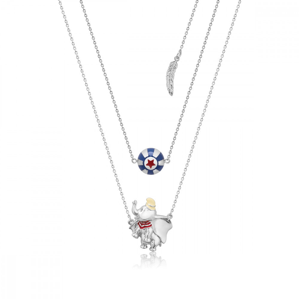 Disney White Gold-Plated Dumbo & Circus Ball Necklace