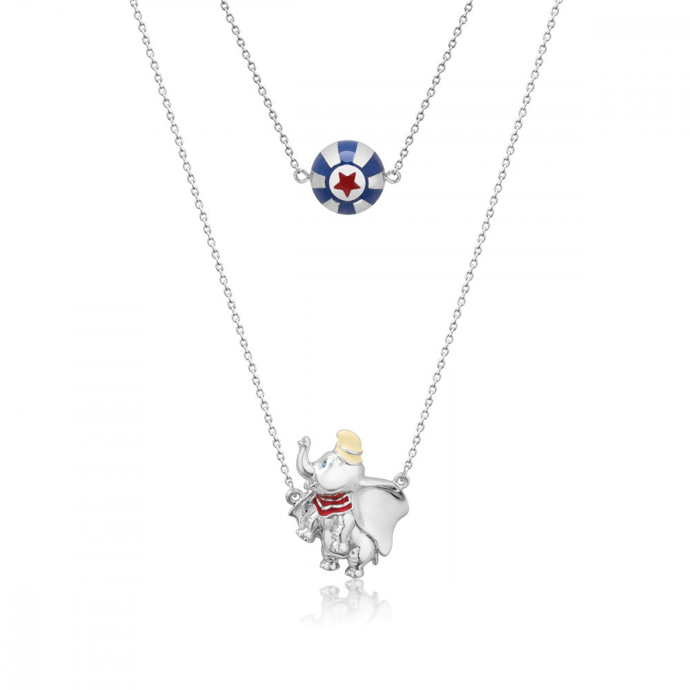 Disney White Gold-Plated Dumbo & Circus Ball Necklace - Couture Kingdom Benelux Bijoux Juwelen Disney Store Charm Bracelet Ketting Collier Oorbellen Boucles d'oreilles Necklace mickey mouse minnie mouse mary poppins dumbo la bella et la bete fée Clochette Alice au pays des merveilles pandora disney swarovski disney bijou cristal