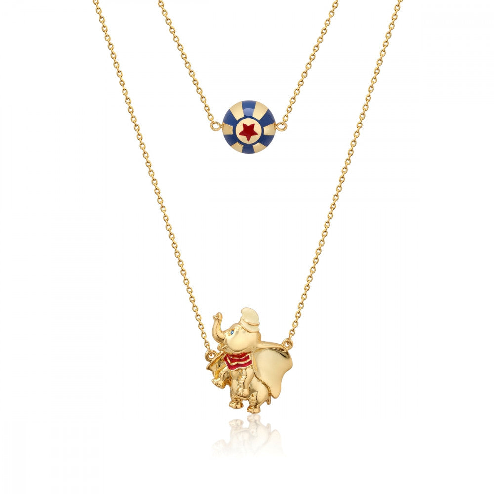 Disney Gold-Plated Dumbo & Circus Ball Necklace - Couture Kingdom Benelux Bijoux Juwelen Disney Store Charm Bracelet Ketting Collier Oorbellen Boucles d'oreilles Necklace mickey mouse minnie mouse mary poppins dumbo la bella et la bete fée Clochette Alice au pays des merveilles pandora disney swarovski disney bijou cristal