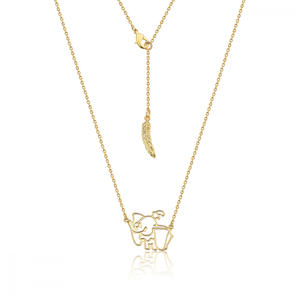 Disney Dumbo Gold-Plated Cute Elephant Outline Necklace - Couture Kingdom Benelux Bijoux Juwelen Disney Store Charm Bracelet Ketting Collier Oorbellen Boucles d'oreilles Necklace mickey mouse minnie mouse mary poppins dumbo la bella et la bete fée Clochette Alice au pays des merveilles pandora disney swarovski disney bijou cristal