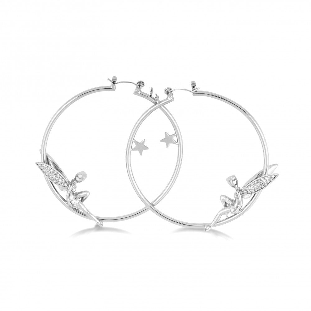 Disney White Gold-Plated Tinker bell with Crystal Wings Hoop Earrings