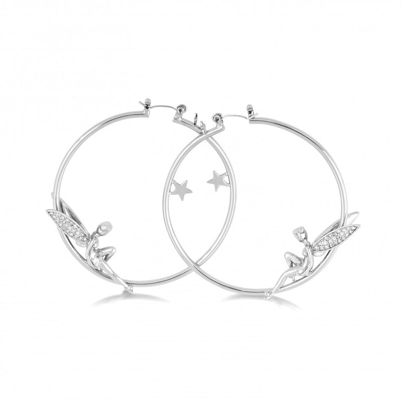 Disney White Gold-Plated Tinker bell with Crystal Wings Hoop Earrings - Couture Kingdom Benelux Bijoux Juwelen Disney Store Charm Bracelet Ketting Collier Oorbellen Boucles d'oreilles Earrings mickey mouse minnie mouse mary poppins dumbo la bella et la bete fée Clochette Alice au pays des merveilles pandora disney swarovski disney bijou cristal