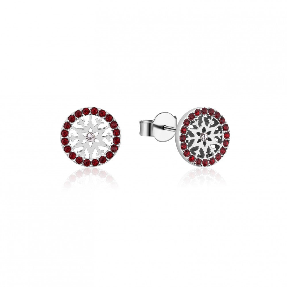 Disney Frozen II Sterling Silver Crystal Snowflake Birthstone Stud Earrings - JAN