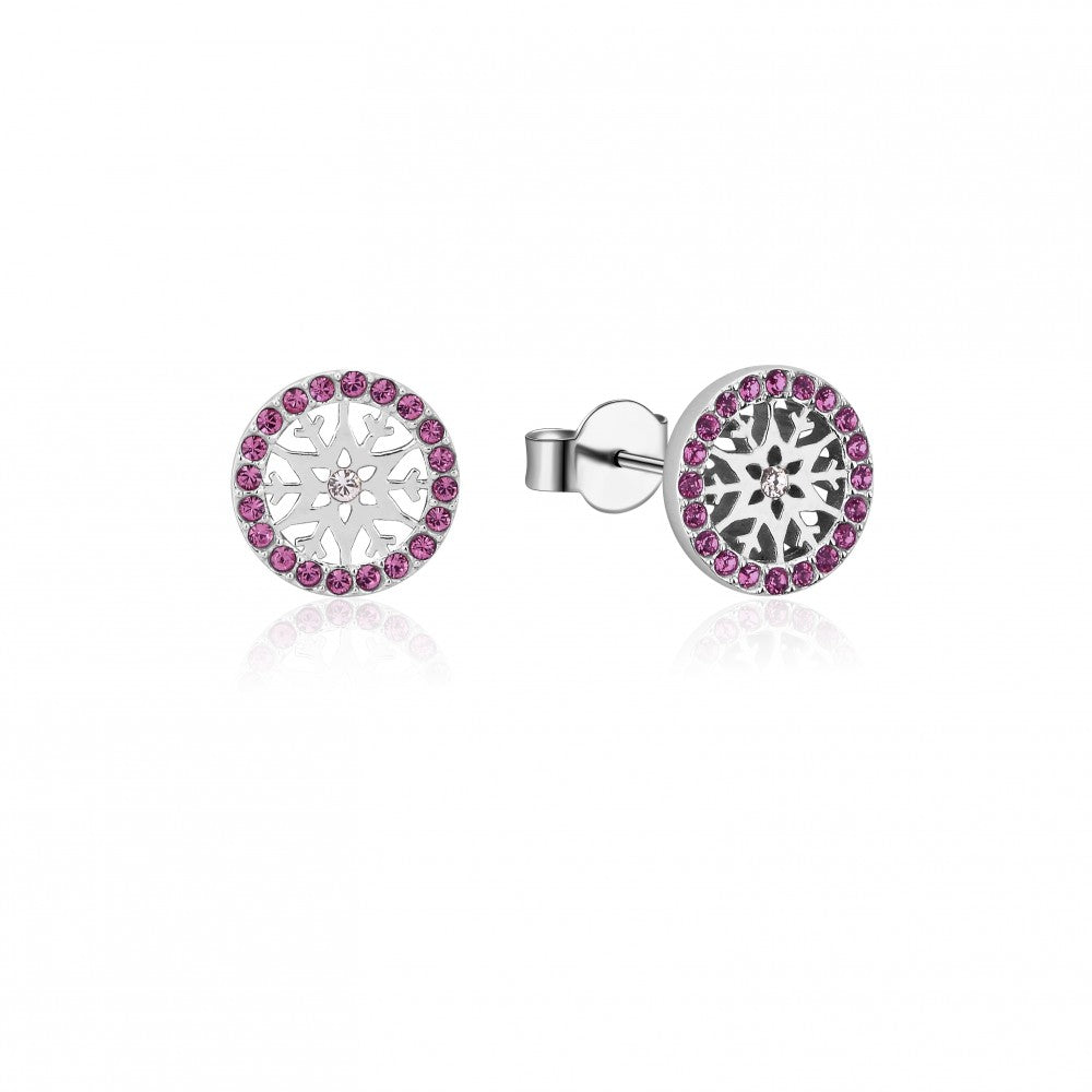 Disney Frozen II Sterling Silver Crystal Snowflake Birthstone Stud Earrings - FEB