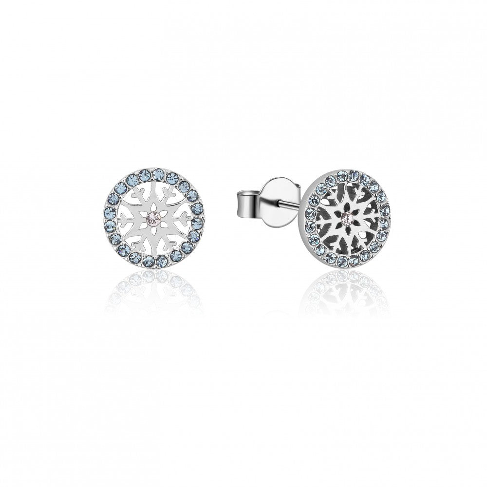 Disney Frozen II Sterling Silver Crystal Snowflake Birthstone Stud Earrings - MAR