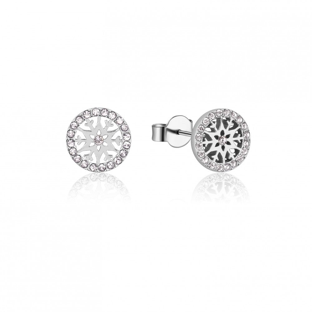 Disney Frozen II Sterling Silver Crystal Snowflake Birthstone Stud Earrings - APR