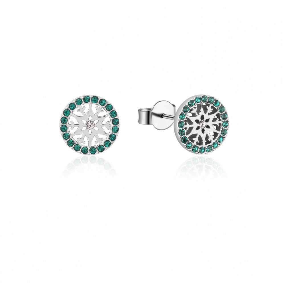 Disney Frozen II Sterling Silver Crystal Snowflake Birthstone Stud Earrings - MAY