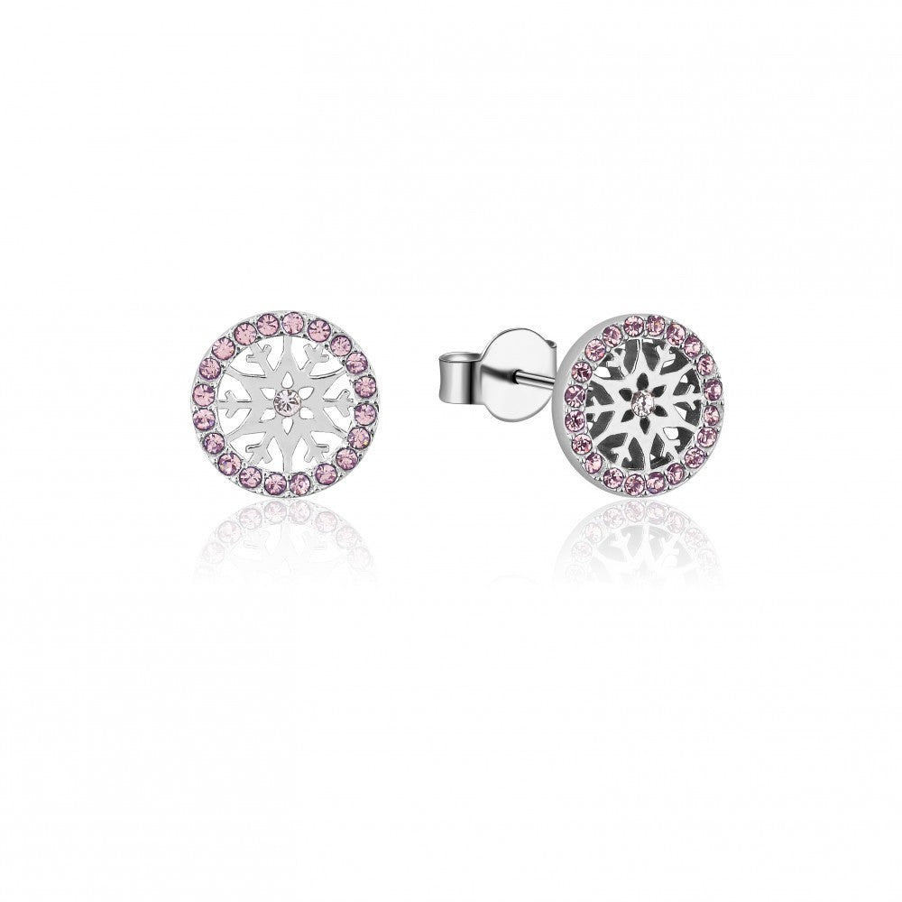 Disney Frozen II Sterling Silver Crystal Snowflake Birthstone Stud Earrings - JUNE